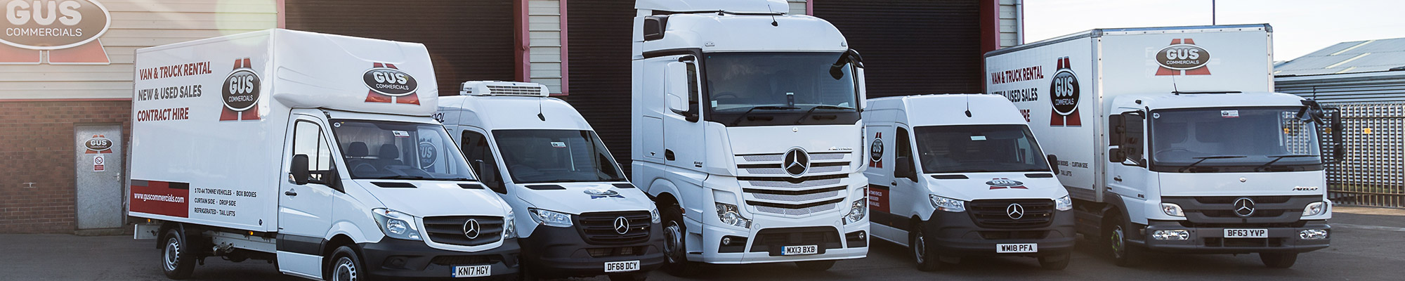 The full range of Gus Commercials' van and truck rental range, including a Mercedes Sprinter van, a refrigerated Mercedes Sprinter van, a 3.5 tonne box body, an 18 tonne box body and a Mercedes Actros truck cab