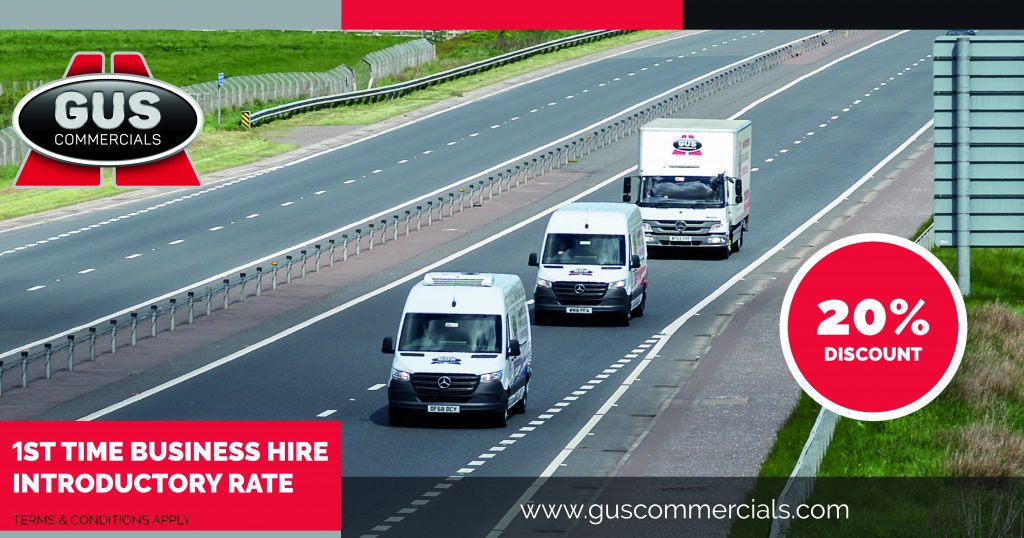 Gus Commercials rental vehicles travelling on a motorway in Northern Ireland