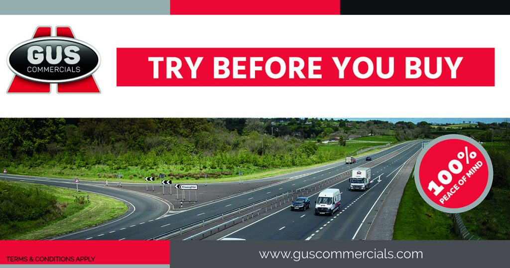 Gus Commercials truck and van travelling on a motorway in Northern Ireland